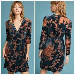 NWT Eri + Ali Anthropologie Velvet Wrap Dress M
